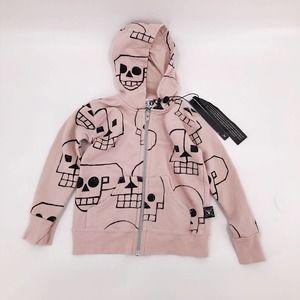Nununu Zip Hoodie Skull Robot Pink Girl Sz 18-24M